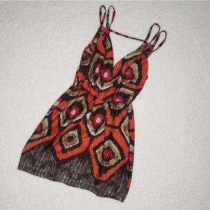 Gianni Bini Orange Brown Pattern Tank Dress